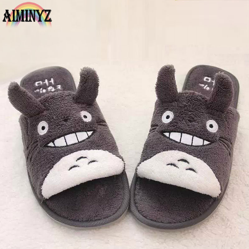 Totoro Slippers Rubber Couples Ladies Slipper Cute Animal Funny Chausson Femme Shoes Women Fur Flat Funny House Bathroom Female 2017 totoro plush slippers with leaf pantoufle femme women shoes woman house animal warm big animal woman funny adult slippers page 7