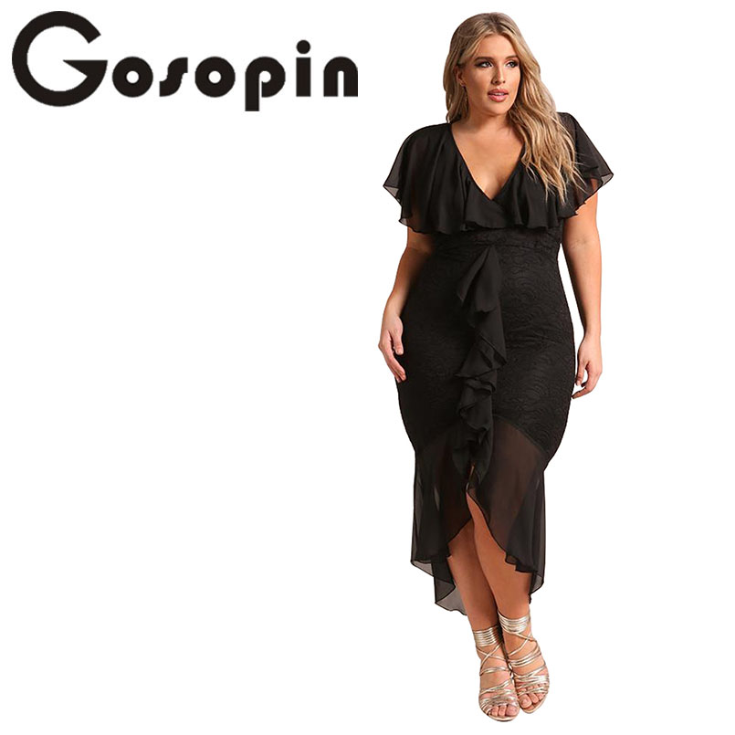 Gosopin Elegante Spitze Kleid Plus Größe Sommer Midi Weiß Kleid V ...
