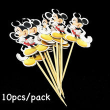10pcs/lot Mickey Mouse theme fruit topper Dottie Mickey Mouse theme birthday party decorations Mickey theme cupcake toppers(China)
