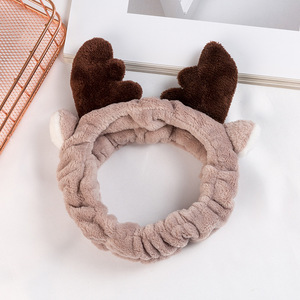 Cute Antlers Wide Hair Band Wash Face Make Up Headband Young Girl Soft Elastic Velvet Hair Band Hair Hoop For Women Accessories(China)