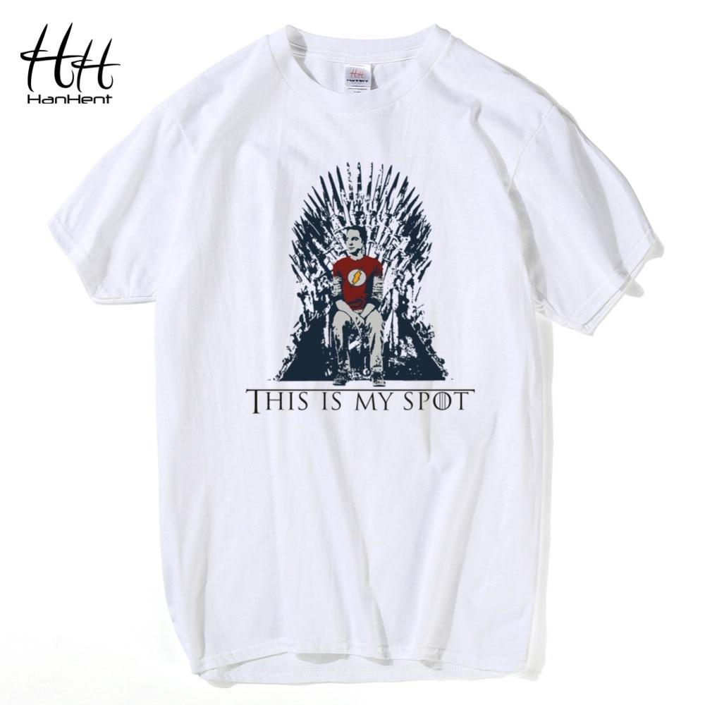 981b6f78e72 HanHent The Big Bang Theory T Shirt This Is My Spot Games Of Thrones Men  Shirts Casual Sheldon Cooper Tee shirts
