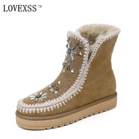 LOVEXSS Woman Crystal Snow Boots Winter Fashion Black Brown Purple Ankle Boots Rivet Fashion Genuine Leather