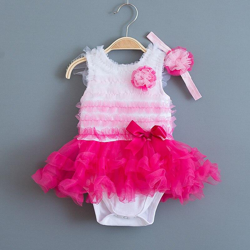 Kojenecká baby šaty Gradient Hot Pink květiny Letní strana svatební šaty a čelenka pro princeznu Dívčí oblečení Set