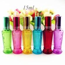 10 sztuk/partia 15ml kolorowe szklane butelki perfum gruby Mini pusty zapach opakowania kosmetyczne butelki z rozpylaczem szklane fiolki wielokrotnego napełniania