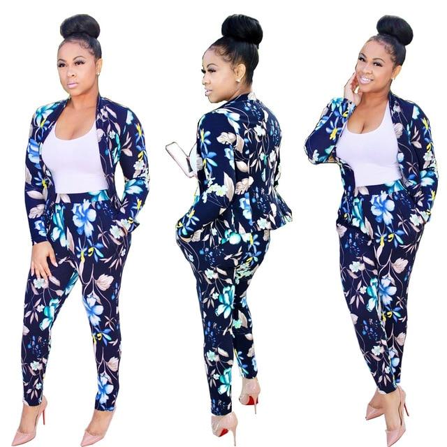 2017 autumn winter full sleeve colorful floral print sportswear fashion women Sets jacket pants 2pcs suits MC5248