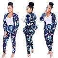 2017 outono inverno completo manga floral colorido imprimir sportswear moda feminina Define calças jaqueta 2 pcs ternos MC5248
