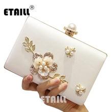 ETAILL Luxury Crystal Evening Clutch Bag Elegant Women Handbag Lady Wedding Purse Party Rhinestones Pearl Metal Floral Wallet