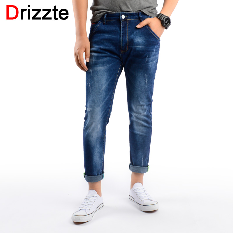 Drizzte Mens Ankle Jeans Denim Slim Fit Ripped Jeans For Men Comfort Wash Soft Blue Denim Jeans ...