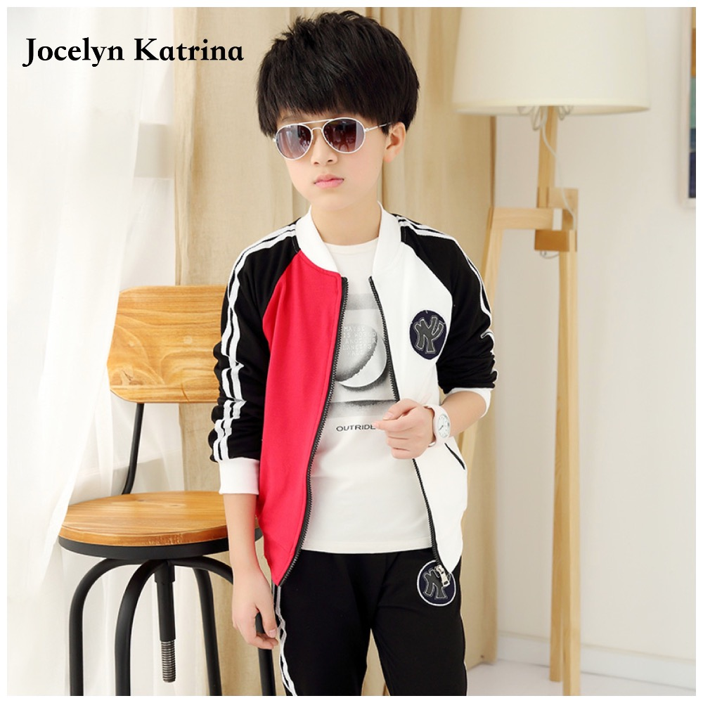 2017 New Spring Autumn Baby Boys Clothing Set 2/PCS Boy Sports Suit School Children Outfits Tracksuit Clothes 3-16 Years new 2016 school uniform for boys brand design 3 16t boys autumn winter sports clothing set kids zipper baseball tracksuit c261