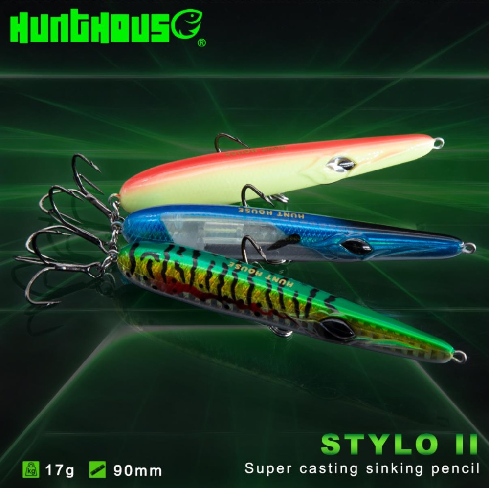 Hunthouse fishing lure hard bait pencil plastic lure needle tiny pencil baits 90mm long casting sinking swimbait