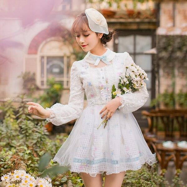Princess sweet lolita dress Candy rain Japanese sweet slim dress female long sleeved Lace Princess Dress C22AB7010
