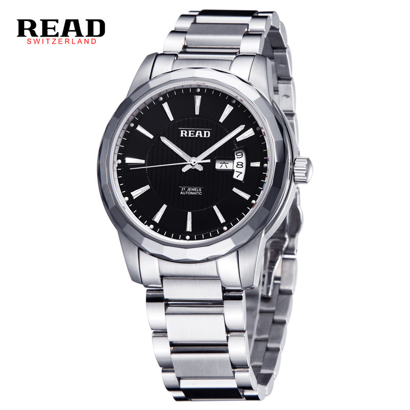READ brand new luxury watch men automatic table black mirror full steel silver strap 8020 new portable handheld metal microscope loupe 60x with led light illumination free shipping