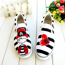 Shoes Women Zapatos Mujer Hand Painted Canvas Air Shoe Cow Muscle Striped Black and White Femme Chaussure Femme Unisex Men Shoes