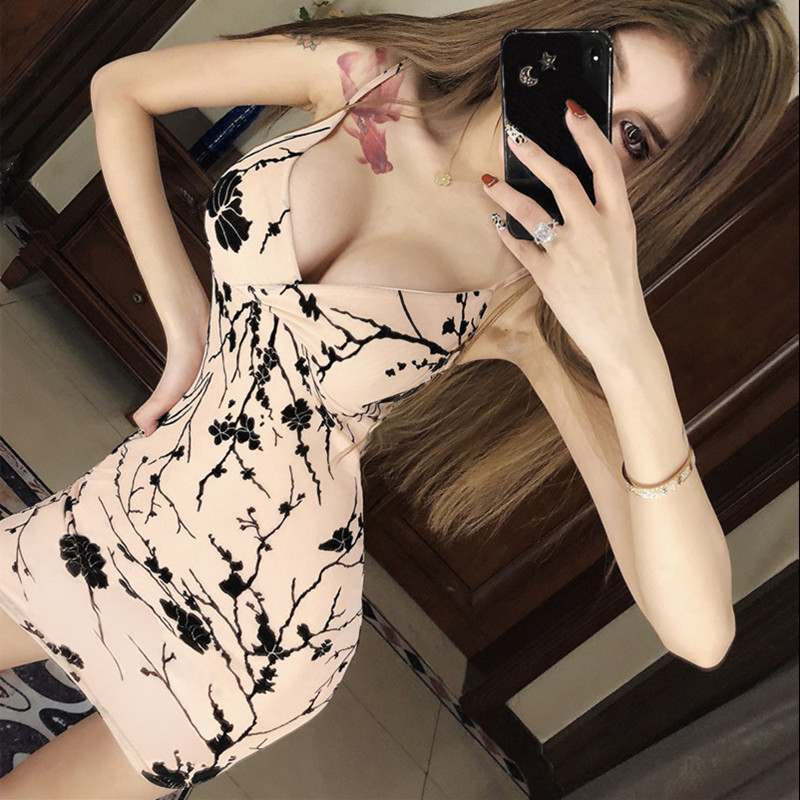Real Shot Elegant Hollow Printing Party Dress 2020 New Fashion Sexy Package Hip V-neck Slim Strap Temperament Dress