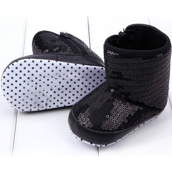 2018 Winter Warm Infant Kids Baby Girl Sequins High Boots Soft Bottom Anti-slip Walking Shoes