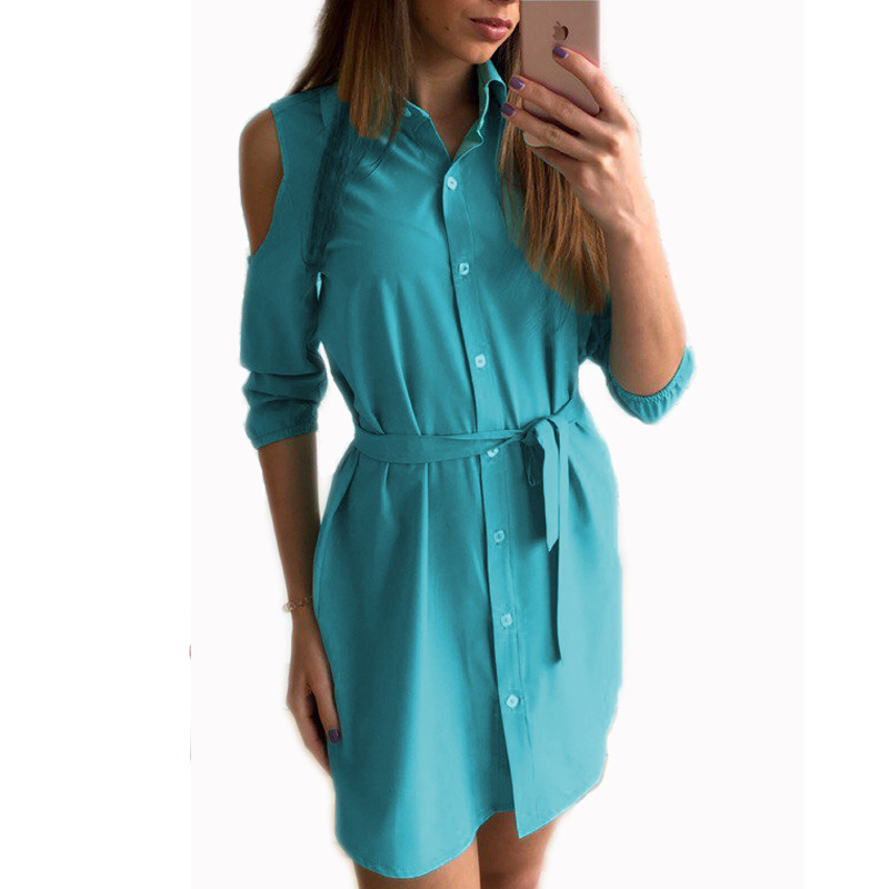 2017 Dress Women Summer Cold Shoulder Shirt Dresses Turn Down Collar Slim Button Casual Mini Party