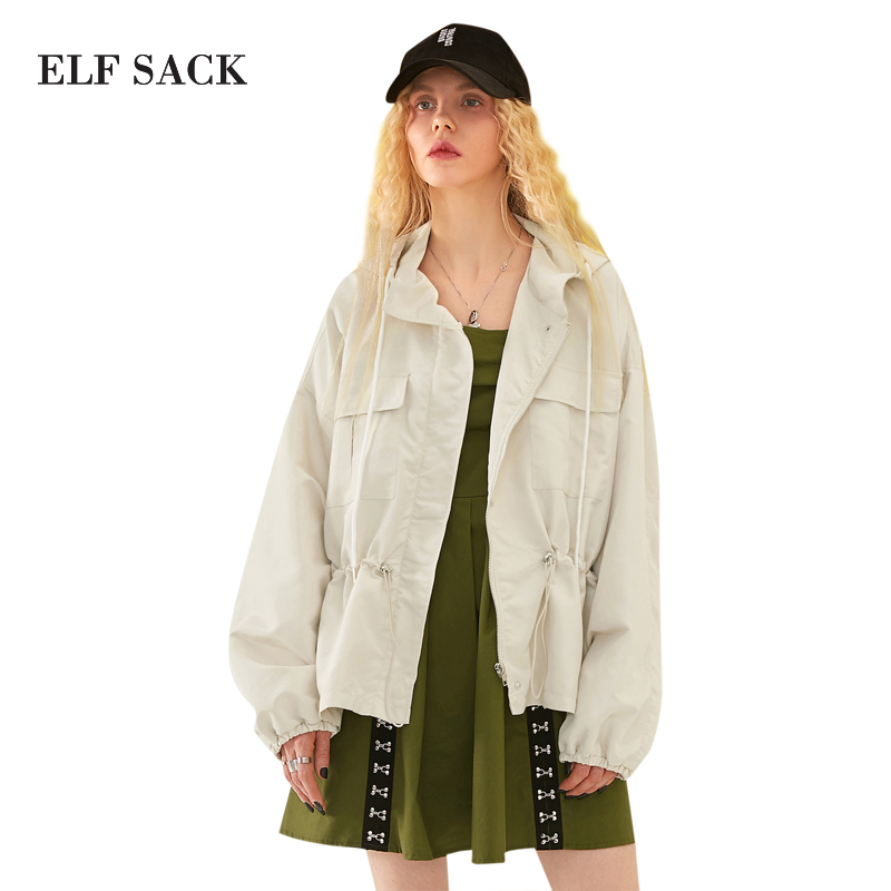 ELF SACK 2018 Spring Women Harajuku Solid Waisted Hooded Jackets Pockets Loose Casual Womens Short Coats Jackets Zipper