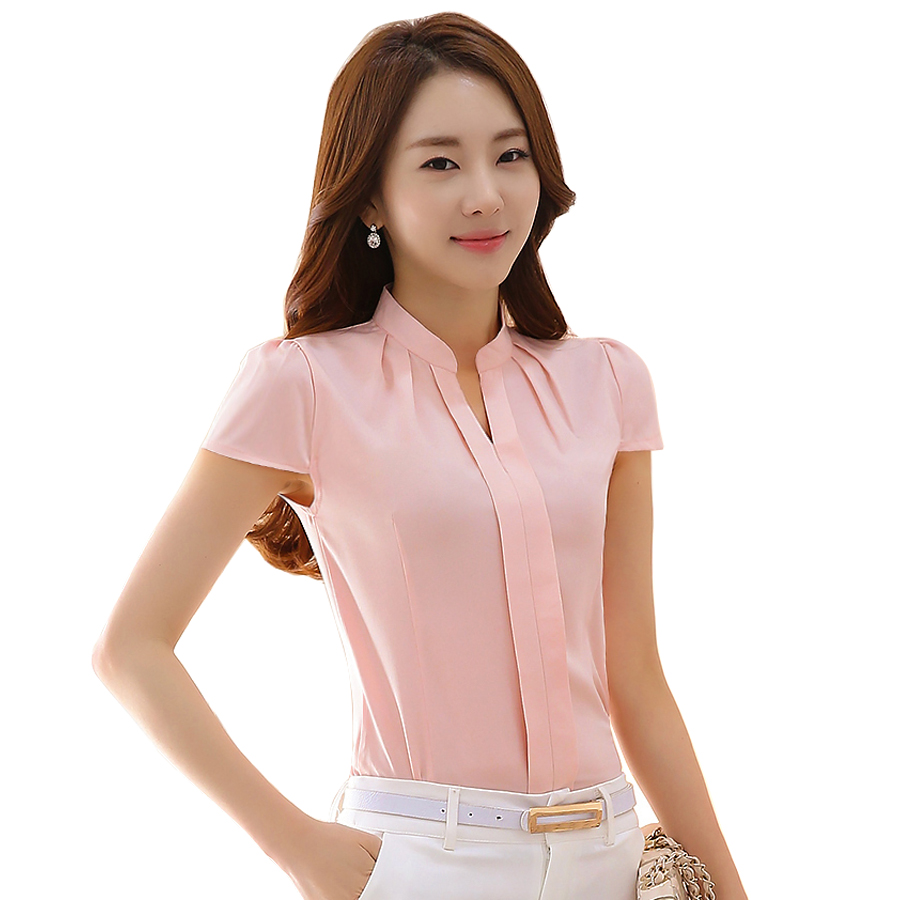 Simple BIBOYAMALL Women Blouses 2017 Casual Lace Elegant OL Blouse Slim Short Sleeve O Neck Work Wear ...