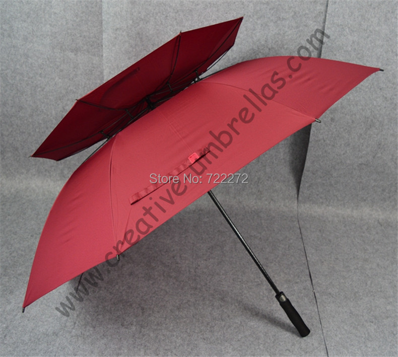 2pcs/lot straight golf umbrellas.real double layers ventilation fiberglass frame,auto open,windproof,anti-thunderbolt,antistatic