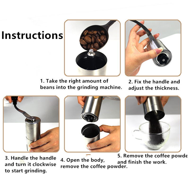 Kahve Değirmeni Paslanmaz Çelik Gümüş El Manuel El Yapımı - Elektrikli Mutfak Aletleri - Fotoğraf 5