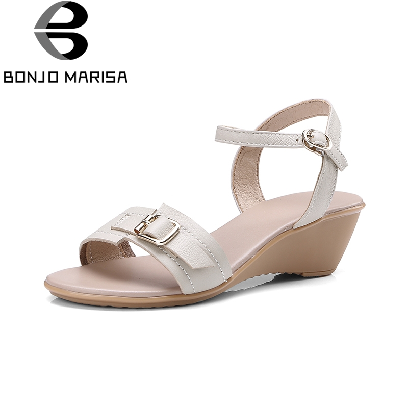 BONJOMARISA New Brand 2018 Buckle Strap Wedges Casual Women Shoes Solid Metal Decoration Summer Sandals Woman Shoes