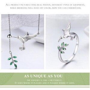 Image 5 - BISAER 쥬얼리 세트 925 스털링 실버 버드 Hummingbirds 인사말 칼라 Anel 쥬얼리 세트 여성 패션 귀걸이 쥬얼리