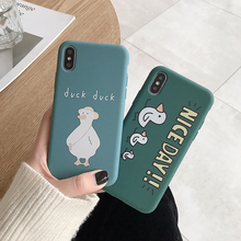 LISM Casing For iPhone 6 6S 7 8 Plus X XR XS Max Lovely Nice Day Duck Plain Soft TPU Phone Case Cover Anti-knock Protector
