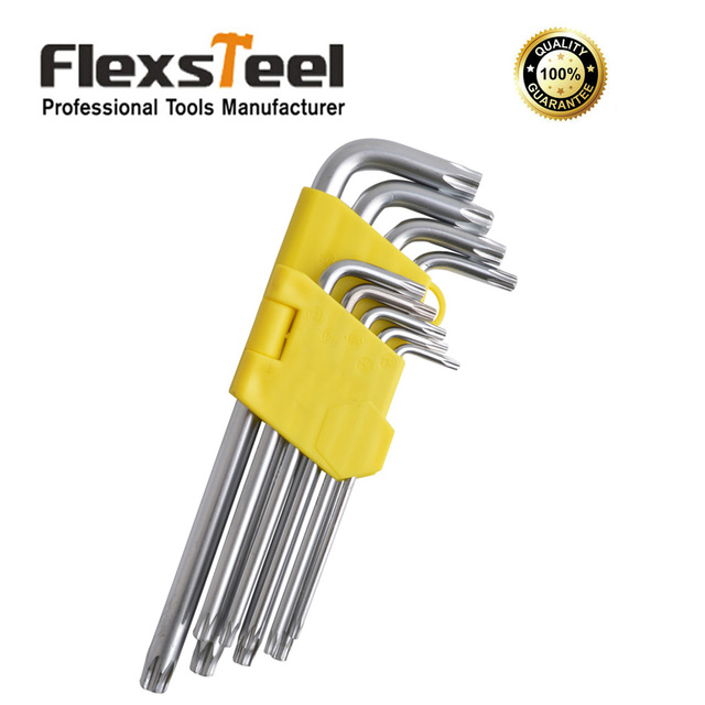 Flexsteel 9pcs Security Torx Hex Key Wrench Set  Allen Wrench T10-T50 Cr-V Long Size With Chrome Plated Surface Finish