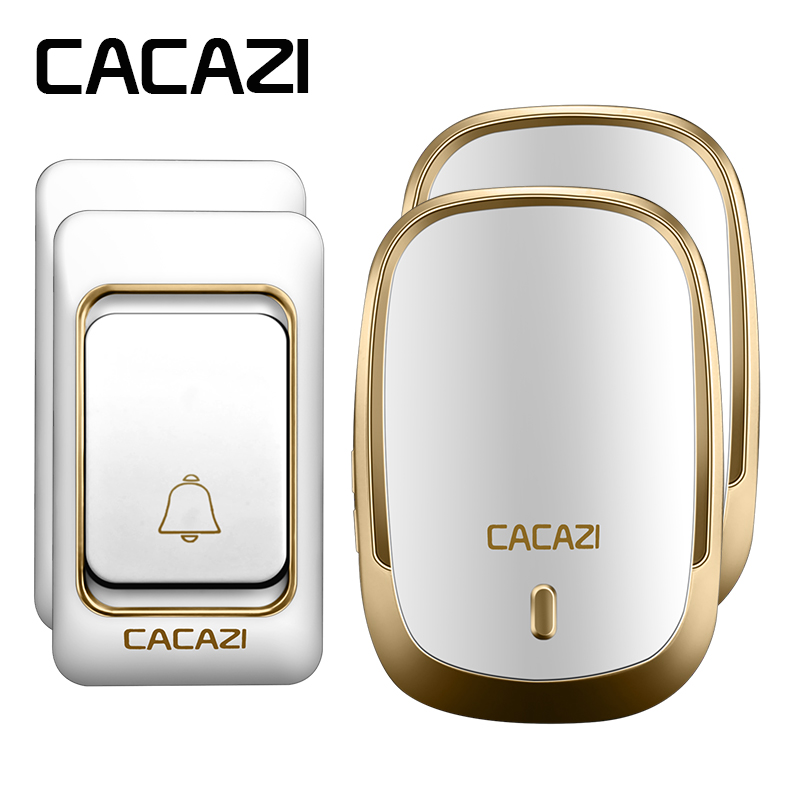 CACAZI AC 110-220V DoorBell 2 transmitters+2 receivers Waterproof 200m remote Wireless Door bell 36 rings 4 volume door chime 2 receivers 60 buzzers wireless restaurant buzzer caller table call calling button waiter pager system
