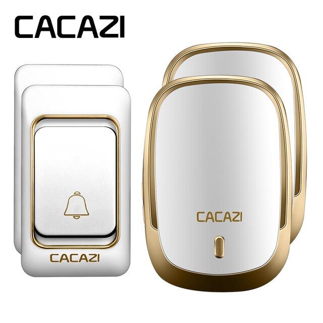 CACAZI AC 110 220V DoorBell 2 Transmitters+2 Receivers Waterproof 200m  Remote Wireless Door