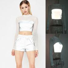 NEW Women Reflective Long Sleeve Casual Top Summer T-Shirt Crop Ladies Solid Hot Mesh Tee Tops US