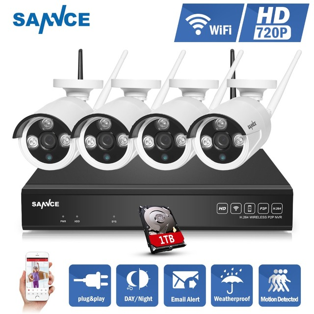 SANNCE 4CH Wireless NVR CCTV System 720P IP Camera WIFI Weatherproof IR Night Vison CCTV Home Security Camera Surveillance Kit
