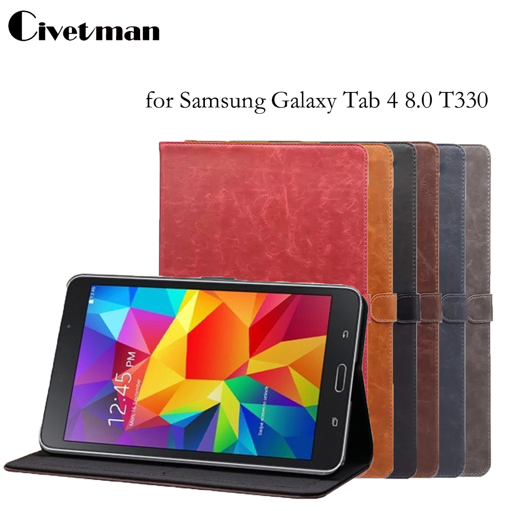 Luxury Crazy Horse Pattern Case for Galaxy Tab 4 T330, Retro PU Leather Smart Case for Samsung Tab 4 8.0 T330 T331 T335 crocodile pattern luxury pu leather case for samsung galaxy tab 4 8 0 t330 flip stand cover for samsung tab 4 8 0 t330 sm t330