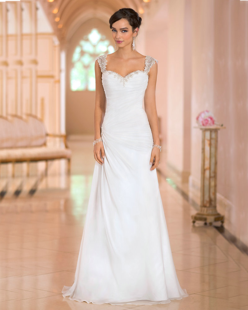 Roman Wedding Gowns: Cheap Dress Beach Wedding Cap Sleeves Chiffon Wedding