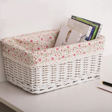 Rattan storage basket wicker desktop debris toys snack box garden fabric woven