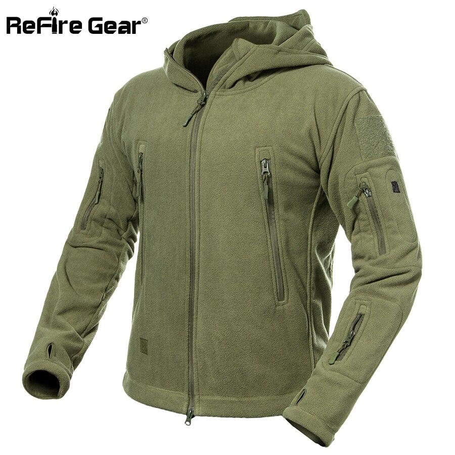 ReFire Gear Winter Warm Military Fleece Jacket Men Army