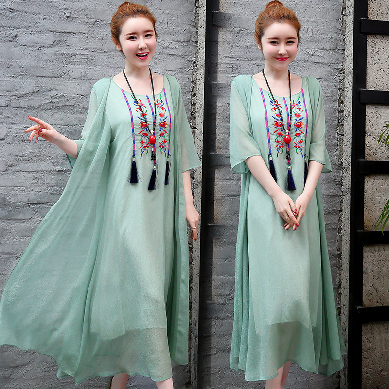 2019 New Cotton Linen Casual 2 Pieces Women Dresses Slim Sleeveless Dress And Cardigan Summer Embroidery Chinese Style Dress 4