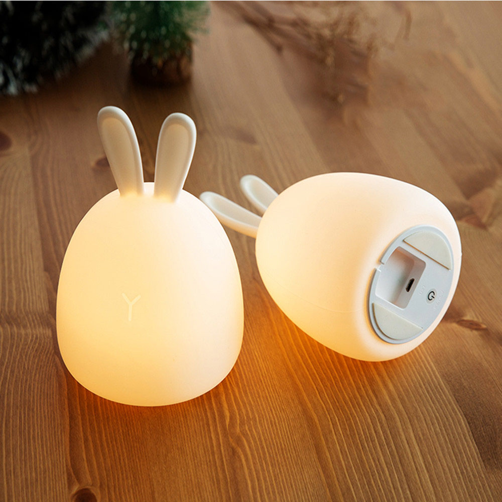 SuperNight Rabbit LED Night Light Vibration Touch Sensor Colorful USB Silicone Bunny Bedside Table Lamp for Children Kids Baby (9)