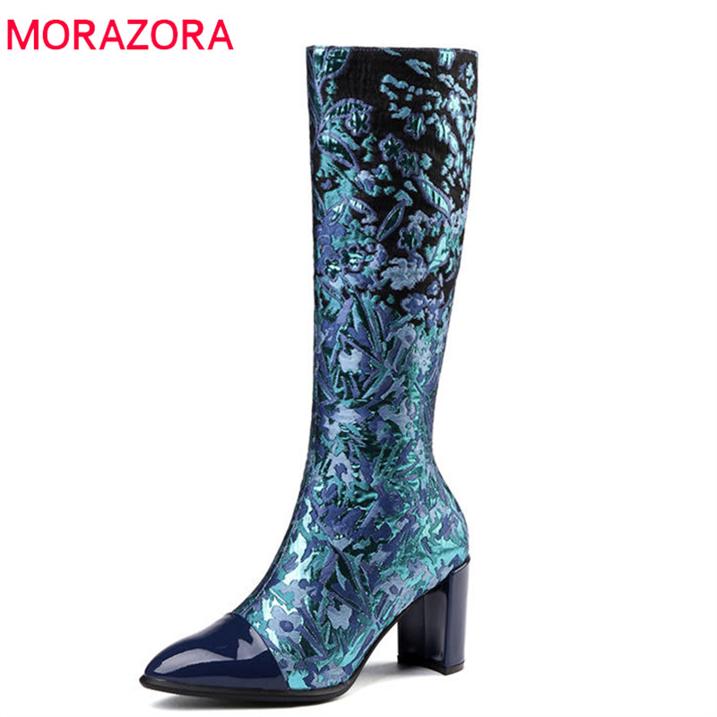 MORAZORA 2018 big size 33-43 knee high boots women patent leather autumn winter boots pointed toe high heels shoes woman 2016 women knee high boots leather winter boots pointed toe zip casual shoes women high heels big size 32 45 black boots woman