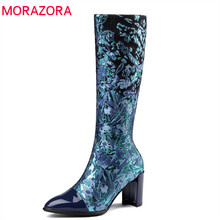 MORAZORA 2018 big size 33-43 knee high boots women patent leather autumn winter boots pointed toe high heels shoes woman