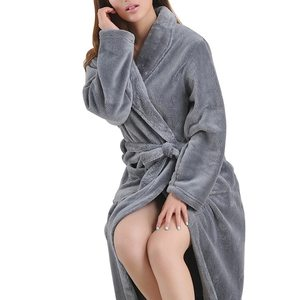 Image 3 - LITTHING Lovers Dress hombre mujer cálido Super suave franela Coral polar largo bata baño hombre Kimono Albornoz bata Batas