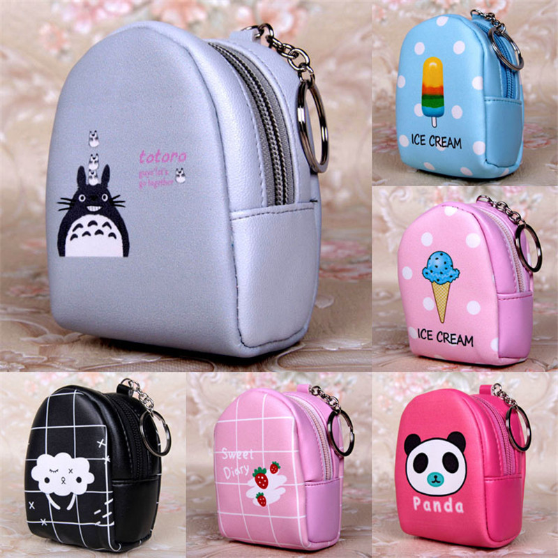 Cute Girl Leather Mini Coin Purse Keychain Wallet for Kids with Zipper Cartoon Print Pattern Women Coin Bag 13 Color girl women stylish cute silicone coin purse wallet