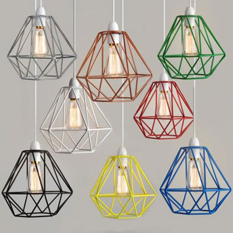 Night Light Industrial Geometry Cage Wire Shades Pendant Light ...