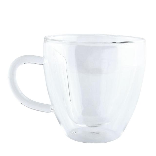 240ML Heart Shape Glass Tea Cup Double Wall Layer Coffee Mug Transparent Glass Tea Cup Coffee Mug
