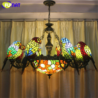 FUMAT Parrots Shape Chandeliers European Style Stained Glass Birds Light For Living Room Cafe Bar Large Lamps LED Chandeliers