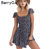 BerryGo Navy Floral Print Short Dress Women Backless High Waist Summer Dress Vintage Back Strap Red