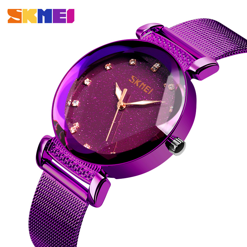 SKMEI Fashion Women Watches Quartz Ladies Watch Stainless Steel Strap 3Bar Waterproof Watches Reloj Mujer 9188