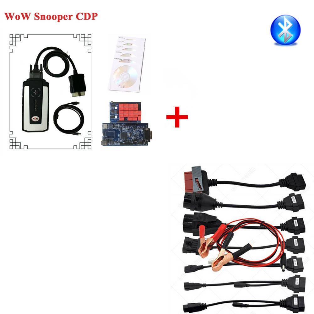 2018 Newest WOW Snooper WOW 5.00.12 Software Free Activate Keygen Plus TCS CDP Pro Cable TCS VCI Full Set 8 Car Cables