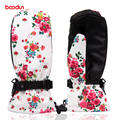 Boodun outdoor professional ski gloves female waterproof warm winter cold sports gloves even