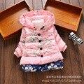 Новые Девушки Верхняя Одежда детская одежда девочка моды ситец пальто зимы Малышей теплая куртка одежда для 2-4 лет